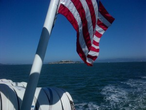 Stern with Flag and ALcatraz